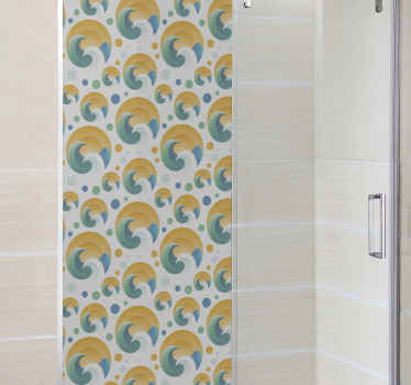 Sun and waves  shower screen sticker. Enhance the appearance of your bathroom space with our lovely illustrative sun and wave shower screen decal.