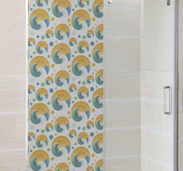 autocolante de tela de chuveiro de sol e ondas. Aprimore a aparência do seu espaço de casa de banhocom nosso adorável vinil autocolante decorativo ilustrativo de tela de chuveiro com ondas e sol.