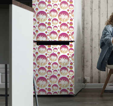 Decorative vintage sunset landscape fridge decal to beautiful the door space of your fridge. The design is original and super easy to apply.