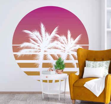 あなたの家の装飾のための美しいヴィンテージの夕日の風景のウォールステッカー。熱帯の木々と夕日を描いた素晴らしいデザイン。