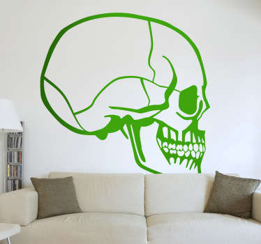 If you're looking for a perfect Halloween decoration, then this sticker is for you! This decal with a side profile of a skull will definately scare your family and friends!