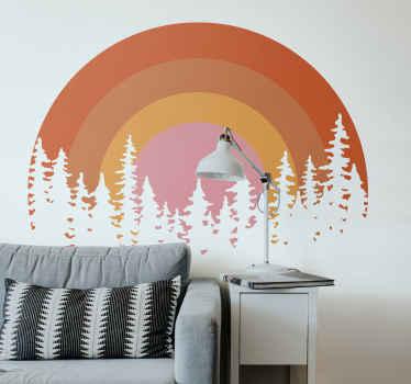 美しい装飾的なヴィンテージの夕日の壁のステッカー。あなたはあなたの壁のスペースにこのデザインを好きになるでしょう、そしてそれは平らな面に適用するのは本当に簡単です。