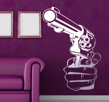 Pistol Wall Stickers - Illustration of a hand holding a pistol. Perfect for action movie lovers. Our vinyl wall stickers come in different colours and sizes.