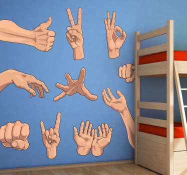 Curious collection of stickers with hands showing different gestures. An original way to decorate the walls of your home.