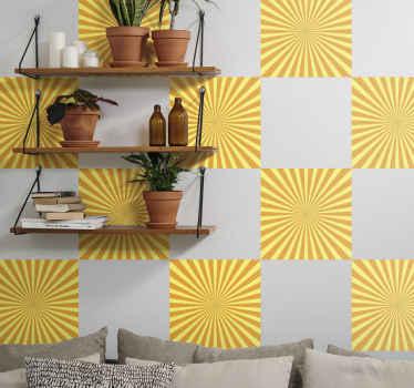 Dekorative sonnenmuster Fliesen Aufkleber , um Ihre wand zu dekorieren. Das Design imitiert eine sanfte brechung des sonnenlichtgradienten in gelber und orange farbe.
