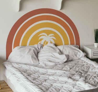 あなたのベッドにオリジナルの外観を与える壁のための素晴らしいレトロな夕日とヤシの木のステッカー。玄関先に高品質な商品をお届けします!