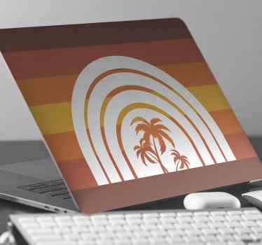 Un merveilleux autocollant rétro coucher de soleil et palmiers pour ordinateurs portables pour donner à votre ordinateur un look original et le protéger. Produit de haute qualité!