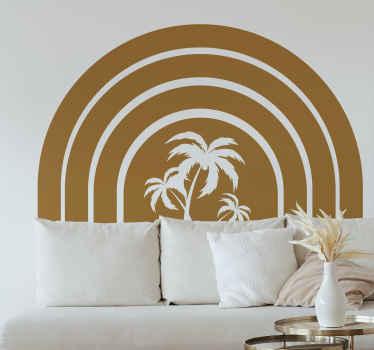 Original vinilo pared salón con puesta de sol vintage y con palmeras para que decores tu casa de forma retro. Elige color y medidas ¡Envío exprés!