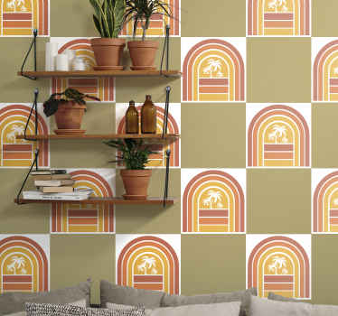 Stylish design tile sticker of retro sunset with palm trees. The product comes in pack sets and it is really easy to apply.