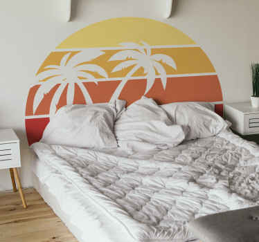 Bedroom sticker design of palm trees and sun. It is suitable to decorate any part of a house, easy to apply and durable.