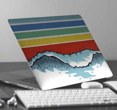 Autocollant de peaux de sticker pour ordinateur portable rétro vagues pour décorer votre ordinateur portable. Le design est original et super auto-adhésif en surface.
