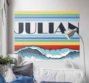 Customisez votre nom sur ce joli autocollant rétro personnalisé de vague pour la chambre à coucher. Le design peut être décoré sur la chambre des adultes et des enfants.