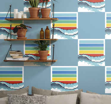 Beautiful retro wave sticker for wall.  Lovely illustration of sea wave with multicolored line layers representing sun refraction. It is elf adhesive.