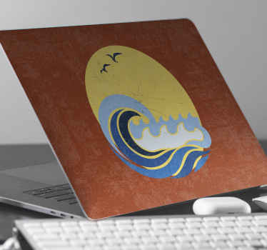 Sun, beach and wave laptop skins decal. Peaceful nature inspired design to decorate your laptop. It is original, durable, easy to apply and removable.