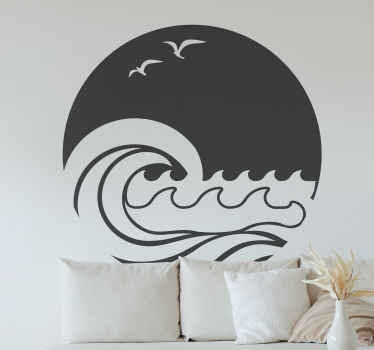 Sun, beach and wave nautical wall sticker. Enhance your space with this lovely design which is also customizable in other colour options.