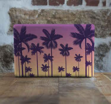 Autocollant d'ordinateur portable paysage nature avec de beaux palmiers et fond de coucher de soleil. Il est original, facile à appliquer et amovible.
