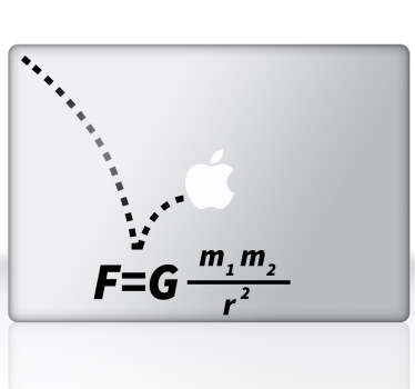 A creative and original decal to decorate your MacBook and create a touch of originality. Design from our collection of MacBook stickers. You can personalise your device with such a cool sticker inspired by the famous gravity formula by Isaac Newton.
