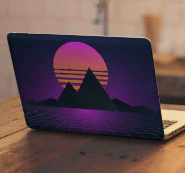 Decorative nature landscape illustrative laptop decal with design of sunset over mountain top. It is durable, original and easy to apply.