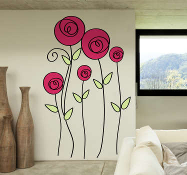 Flower Wall Stickers - Illustration of five colourful roses to give a fresh and original atmosphere to your home decor. Vibrant rose wall stickers to bring some colour and nature to any living room, bedroom and more!