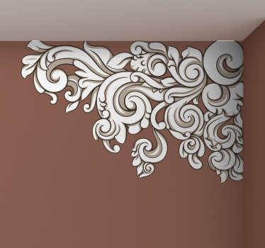 Growing Baroque Floral Corner Wall Sticker