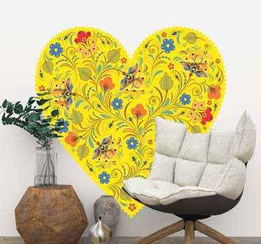 家の中のどんな空間にも活気を与えるフォークハートフローラルウォールステッカー。さまざまな装飾用の花と明るい黄色のハート型の背景デザイン。