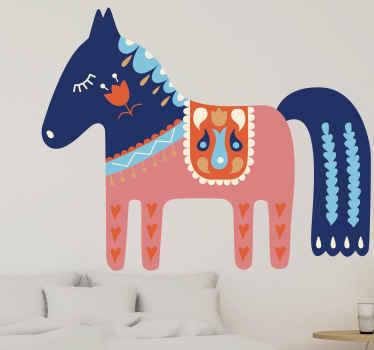 Dětská ložnice design nálepky slovenský lidový kůň. Tento design lze vyzdobit na zeď v pokoji dětí nebo na nábytek, dveře, okno atd.