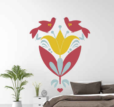 Decorative ornamental bird and floral sticker. Lovely design to decorate any part of a house, it is original, durable and self adhesive.