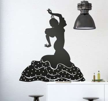 Great sticker of woman dancing to the famous Spanish dance, Sevillana. Fantastic decal to decorate your living room if you love dancing!