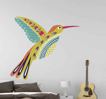 Ornamental ethical bird decal. The flying bird can be decorated on any space in a house and it application is easy. It is easy to apply and adhesive.