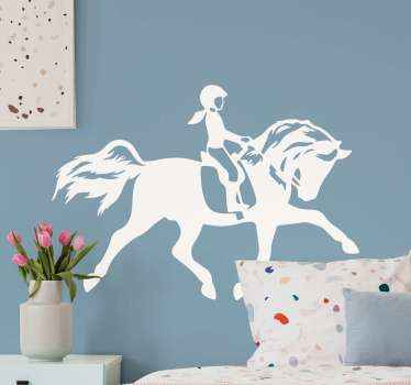 Beautiful illustrative animal wall decal. The design illustrate a girl riding on a horse, you can have this design in customizable colour options.