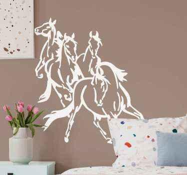Autocollant illustratif décoratif dessiné à la main de 4 chevaux en cours d'exécution. La couleur est personnalisable et elle est disponible dans n'importe quelle taille requise.