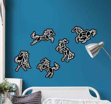 Illustrative black and white horse sticker. The design can be decorated on any flat surface, it can be applied on furniture, door, wall, window, etc.
