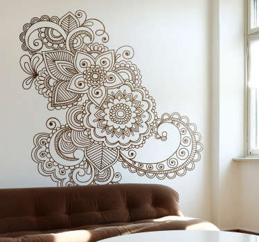 Gorgeous floral wall sticker inspired by Asian patterns and mandalas, from our oriental wall stickers collection. This beautiful flower wall sticker is available in any size you want and over 50 different colours so you can decorate your bedroom or living room they way you want.