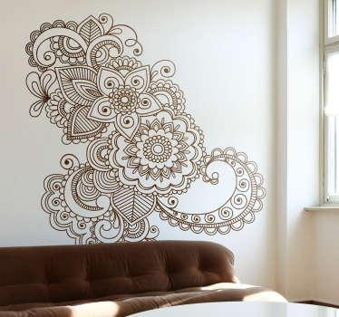 아시아 꽃 무늬 스티커