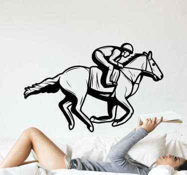 Adorable autocollant animal cheval illustratif d'un homme à cheval en vitesse. La couleur est personnalisable et facile à appliquer.