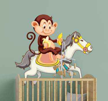Amuse your kid with this funny and funky illustrative animal sticker of a cartoon horse with monkey riding on it and eating banana.