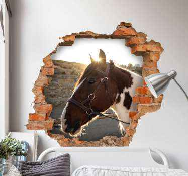 Looking at this design you would just want to purchase it immediately. A realistic 3D effect horse head sticker with view through a broken brick wall.