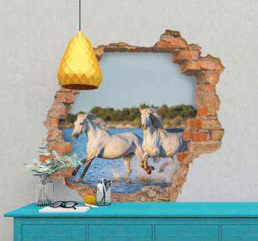3D running horses animal wall sticker. An amazing illustration of  two white horses running on water surface, a view created with a broken brick wall.