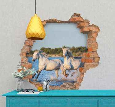 adhesif animaux chevaux en cours d'exécution 3d. Une illustration étonnante de deux chevaux blancs courant sur la surface de l'eau, une vue créée avec un mur de briques cassé.
