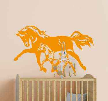 Decorative illustrative horse sticker. The design illustrates two horses running, a big and a small one. The colour is customizable and easy to apply.