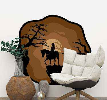 An amazing decorative illustrative horse animal decal of a horse with it rider riding in the forest at night. It is available in any required size.