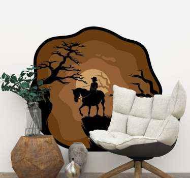 úžasný dekorativní ilustrační zvířecí obtisk koně, s nímž jezdec jezdí v noci v lese. Je k dispozici v jakékoli požadované velikosti.