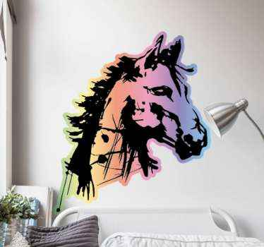 Artistique horse head animal wall sticker to beautify any space. Suitable for living room, bedroom and other interior areas in a house.