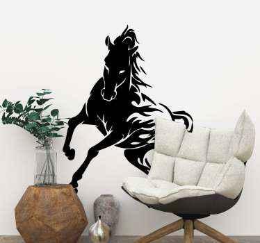 Ozdobte si svůj domov touto úžasnou černobílou samolepkou na koně. Může být vyzdoben v obývacím pokoji nebo v ložnici.