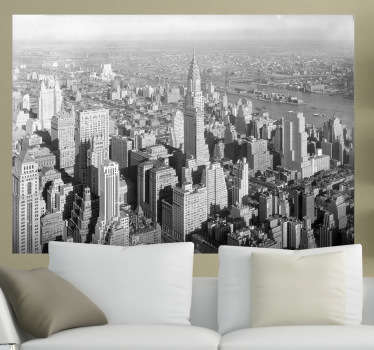 Decorate your home with this great wall decal with the view of the city of New York from the top in black and white.