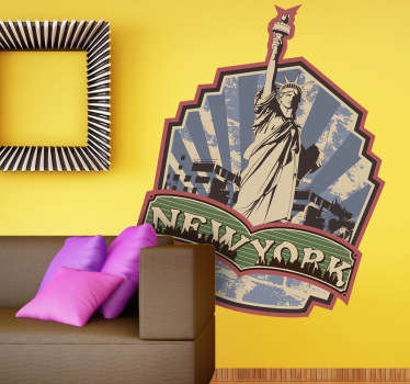Vinilo decorativo etiqueta retro New York
