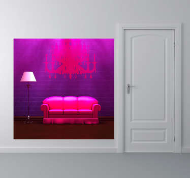 Fotomurale che ritrae un divano e due lampade, una elegante da soffitto e l'altra piú modesta da terra. Un'immagine originale ed alternativa per decorare il soggiorno o la camera da letto.