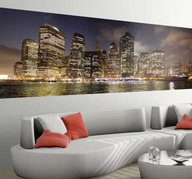 Vinilo decorativo skyline New York noche