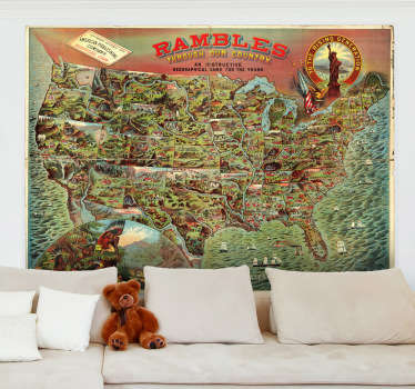 A detailed illustration of a vintage American poster with an in depth map of its United States.