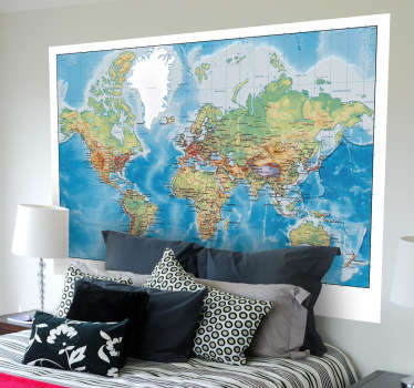 World Map Wall Stickers - Atlas map of the world. Ideal for learning and decorating any space. Extremely long-lasting material.